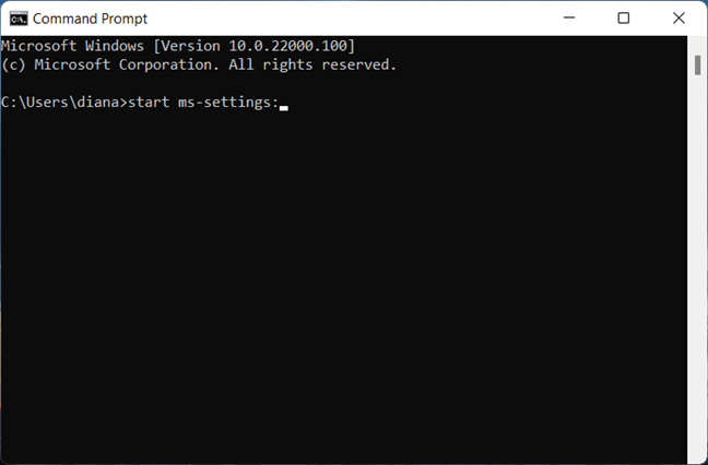 Open Settings in Windows 11 with CMD