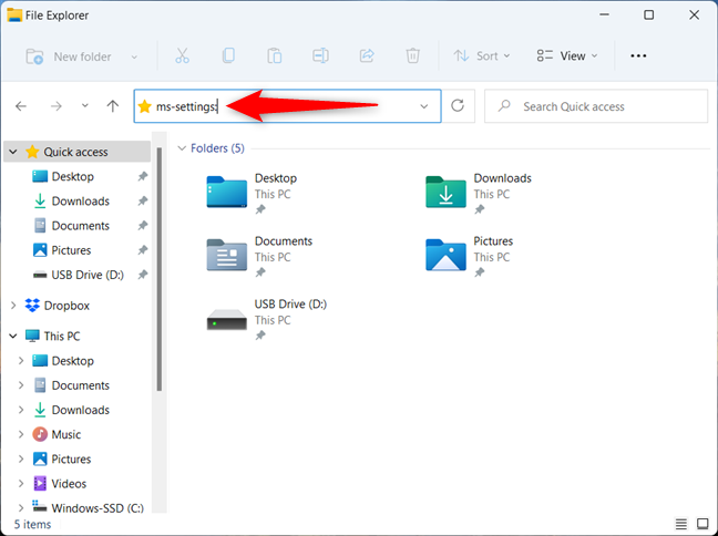 How to open Settings for Windows 11 from File Explorer