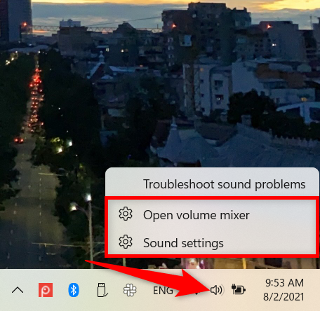 Open the Windows 11 Settings from the sound icon in the system tray