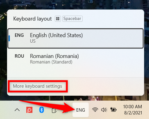 Launch the Windows 11 Settings from the language icon