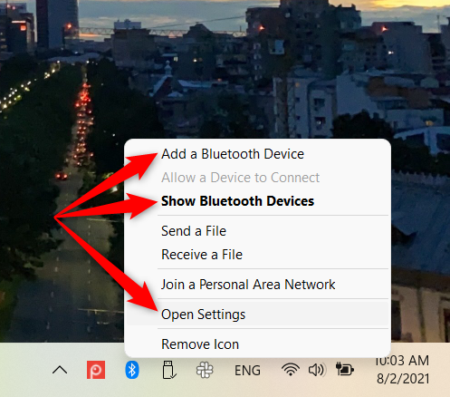 Start the Windows 11 Settings from the Bluetooth contextual menu