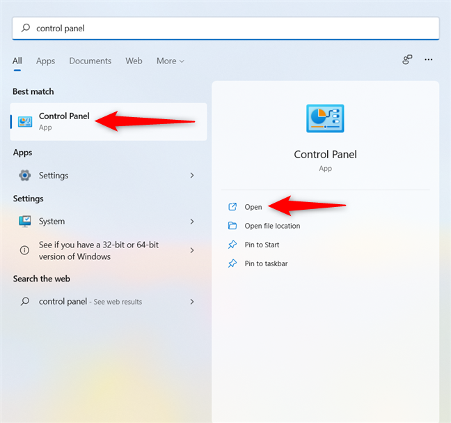 Open the Control Panel in Windows 11