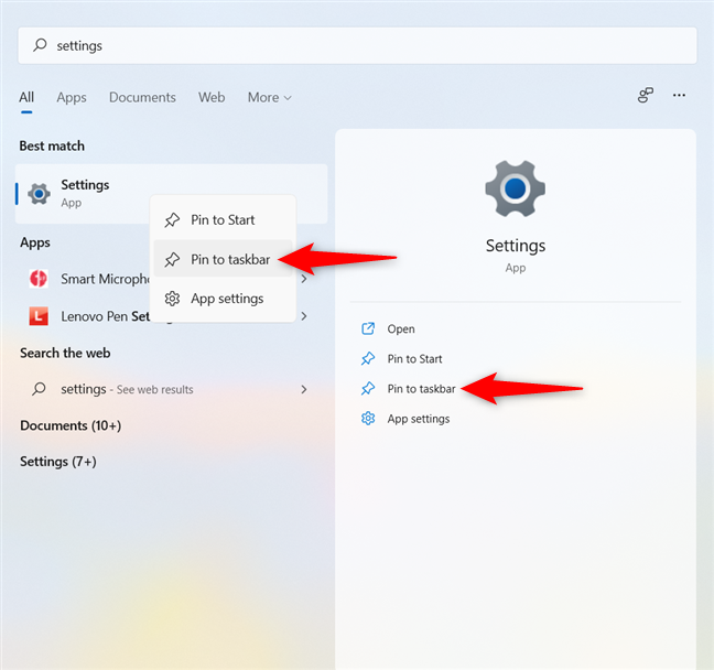 How to pin the Settings shortcut in Windows 11 to the taskbar