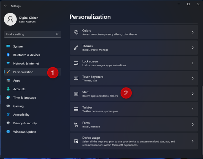 Go to Personalization and then to Start