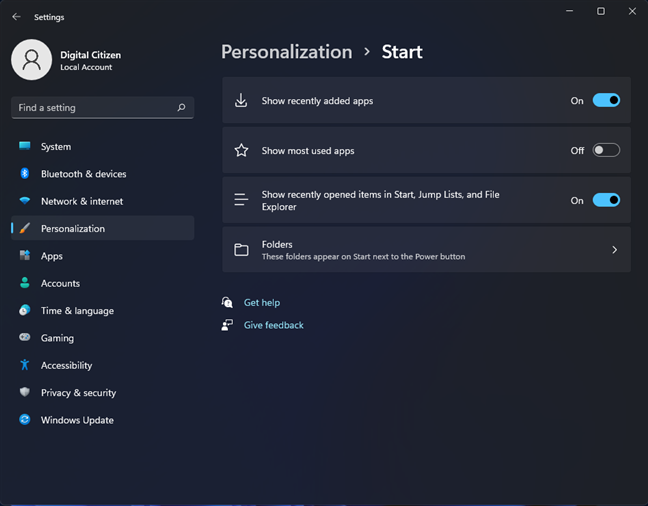 The Personalization options for the Start Menu
