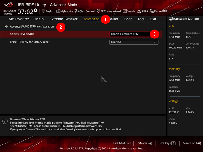 Enabling AMD Firmware TPM on an ASUS motherboard