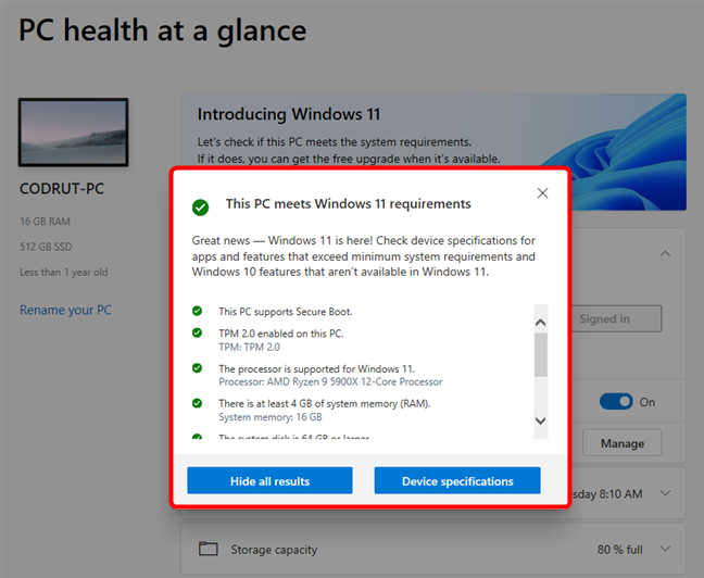 Details about the Windows 11 system requirements met by a PC