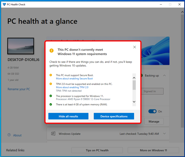 Details about the Windows 11 system requirements that aren't met by a PC