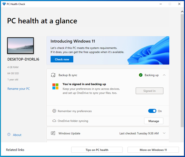 Windows 11 system requirements tool: PC Health app