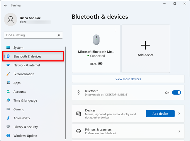 Access Bluetooth & devices settings to turn off the touchpad in Windows 11