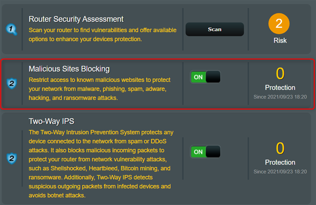 Activate the switch for Malicious Sites Blocking