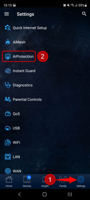 In ASUS Router, tap Settings followed by AiProtection