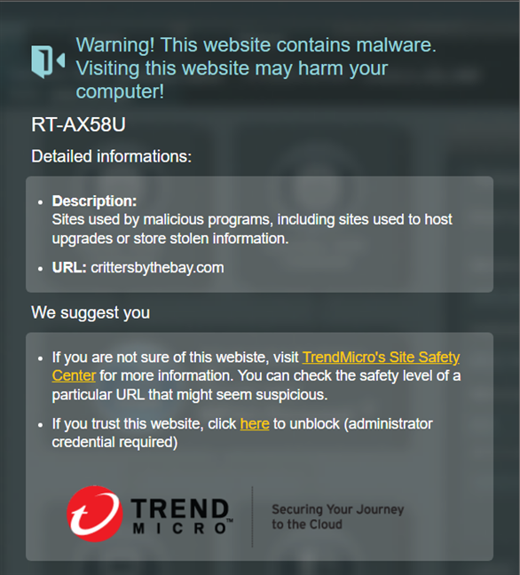 How ASUS AiProtection blocks access to malicious sites
