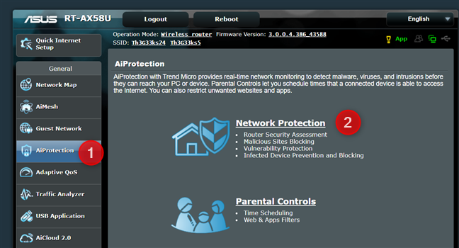 Go to AiProtection > Network Protection