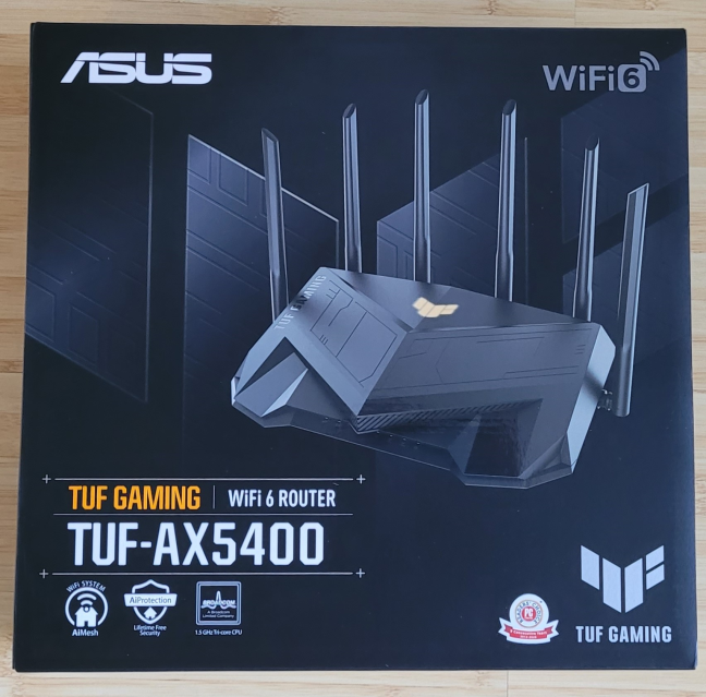 The packaging used for ASUS TUF-AX5400