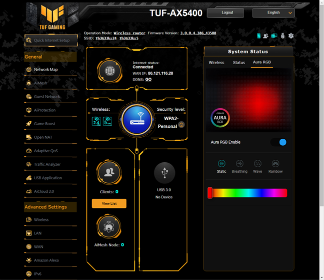 The firmware for the ASUS TUF-AX5400