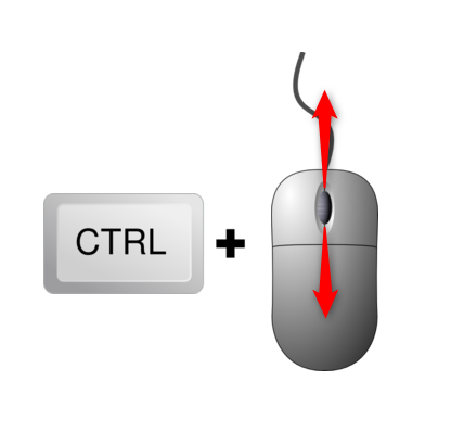 Use CTRL + mouse wheel to modify zoom levels in Chrome