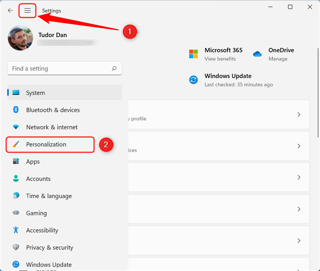 Go to Personalization in the Settings window