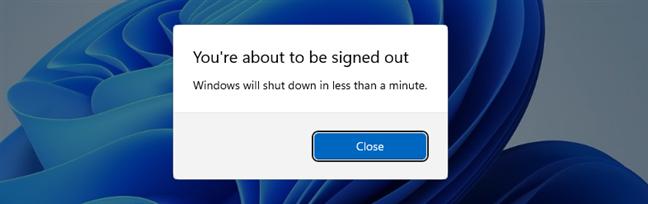 Windows 11 shut down notification