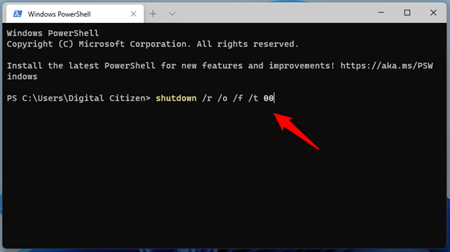 Running the command for accessing UEFI/BIOS in Windows 11's Terminal
