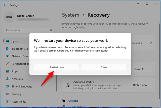 Save your work and restart your Windows 11 PC