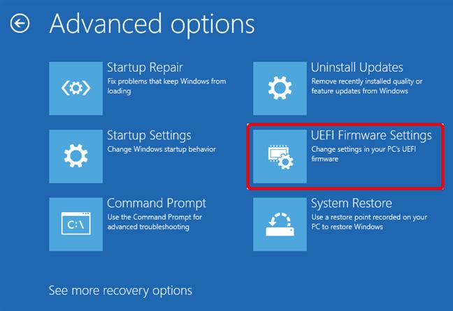 Click or tap UEFI Firmware Settings