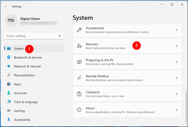 Open Recovery from the System page of the Windows 11 Settings