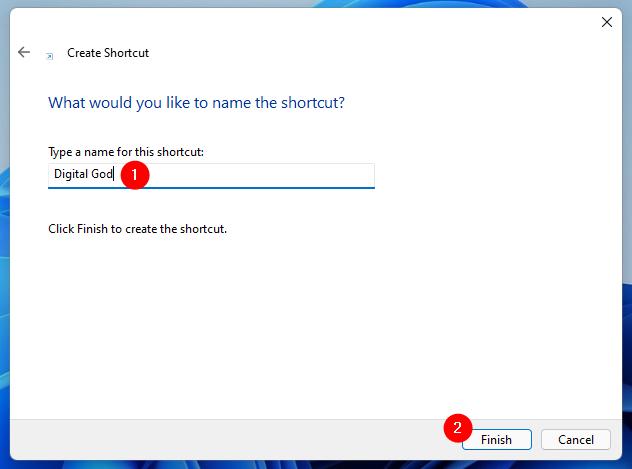 Choose a name for the God Mode folder
