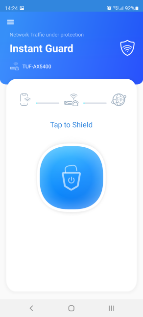 Tap the shield to set up Instant Guard
