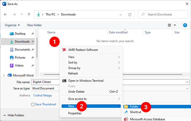 Create a new folder in Windows from the Save As window