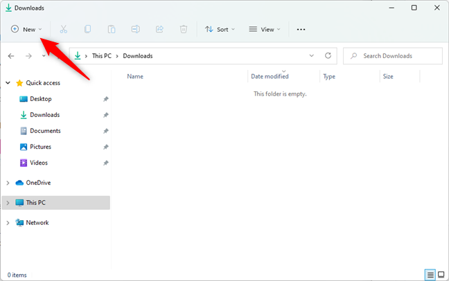 The New button from Windows 11's File Explorer