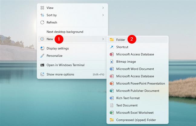 Create a new folder on the desktop