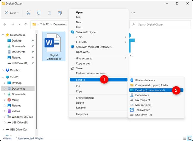 Create a desktop shortcut for your file