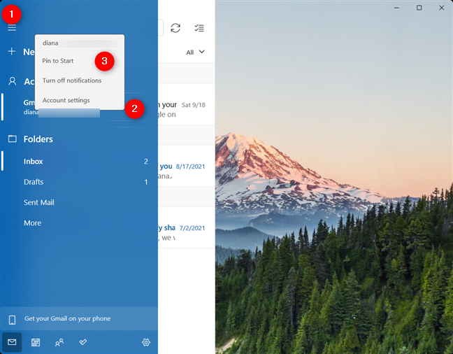 Pin to Start an email account in Windows 11