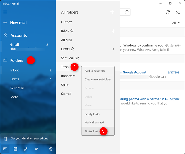 Pin an email folder to Start in Windows 11