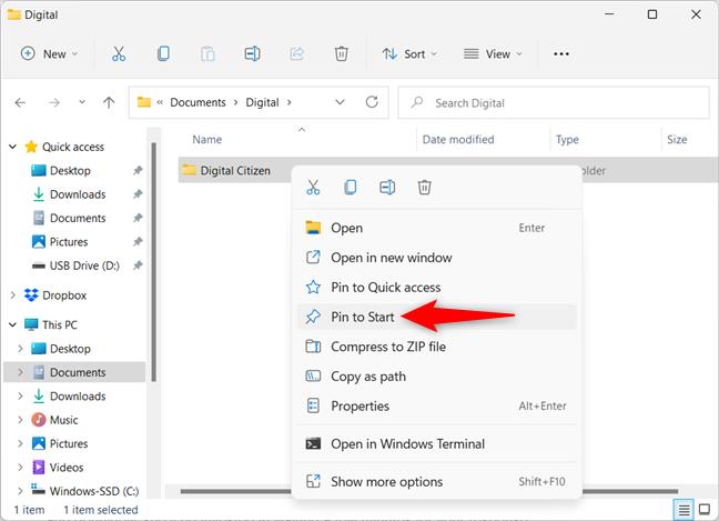 Add a folder to Start Menu in Windows 11