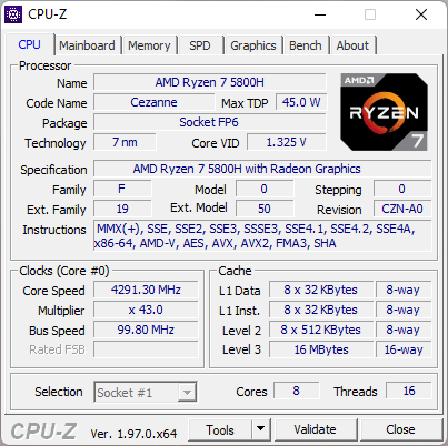 ASUS ROG Strix G17 G713QC: Processor details