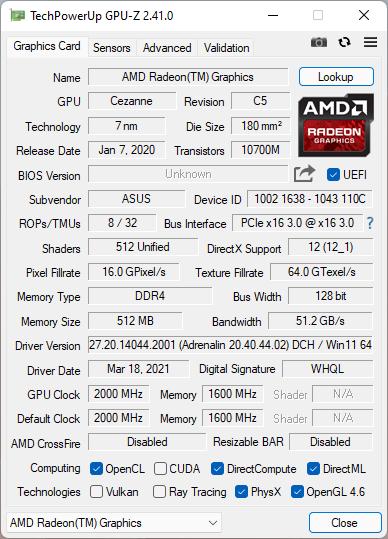 ASUS ROG Strix G17 G713QC: Integrated GPU details