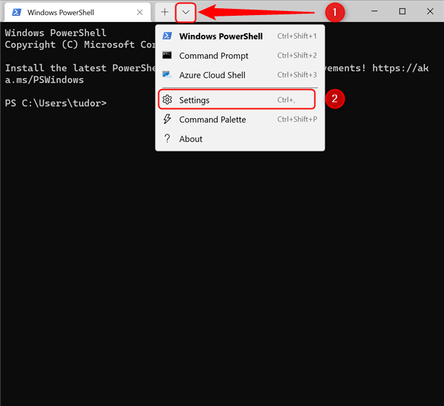 How to access the Windows Terminal Settings