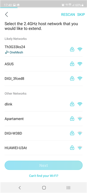 Choose the 2.4 GHz Wi-Fi emitted by the TP-Link router