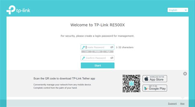Create an admin password for the range extender