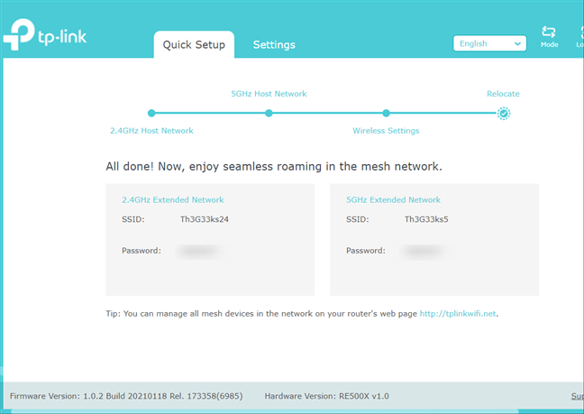 Your TP-Link OneMesh network is created