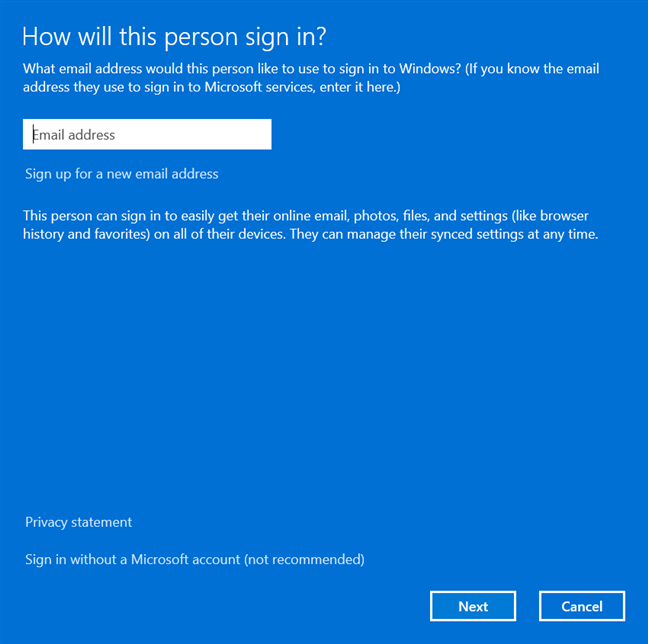 Enter the email of the Microsoft account