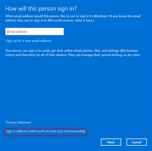 Click on Sign in without a Microsoft account (not recommended)