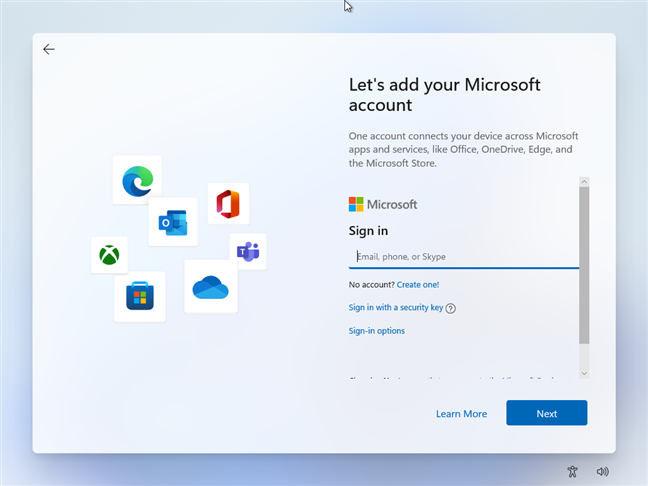 While installing Windows 11, enter the email of the Microsoft account