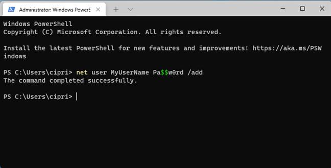 net user NAME PASS /add
