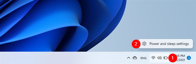 Opening Power and sleep settings in Windows 11