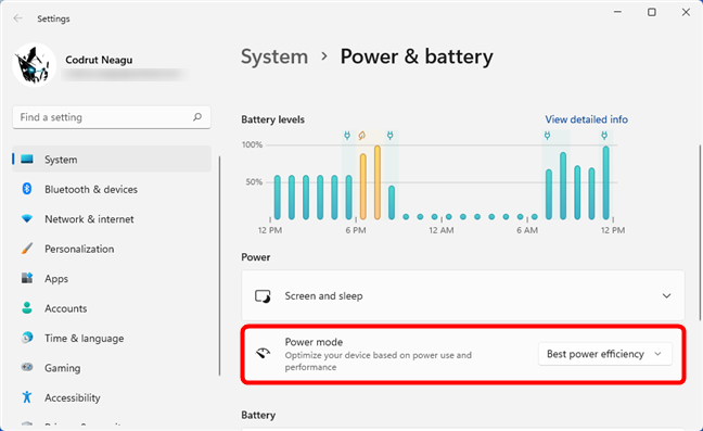 Changing the power mode of Windows 11