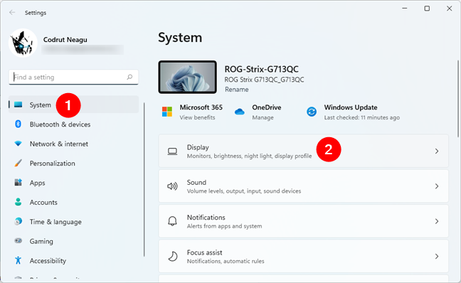 Navigate to Windows 11's Settings > System > Display