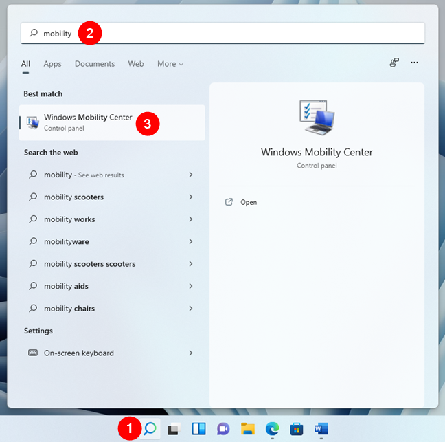 Open the Windows Mobility Center in Windows 11
